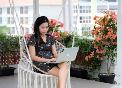 Chalsie working on laptop